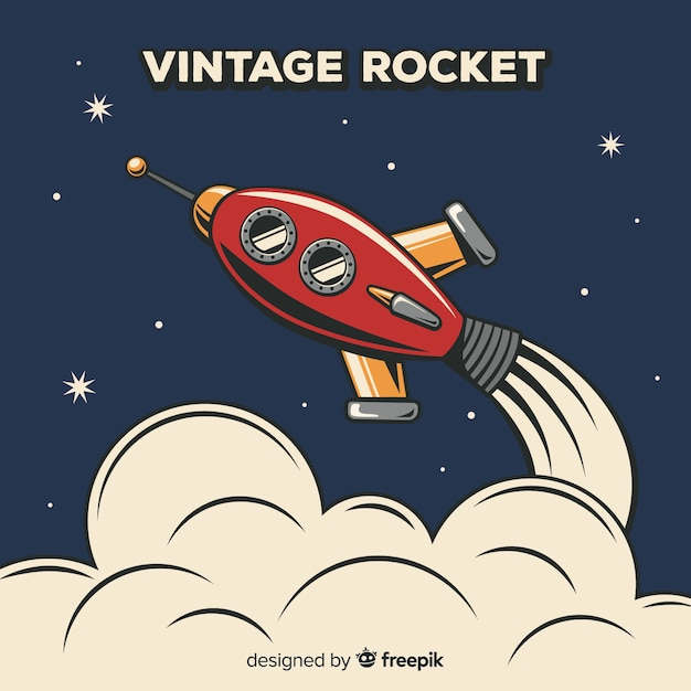 Classic space rocket composition with vintage style Free Vector