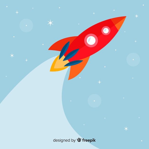 Classic space rocket with flat design Free Vector