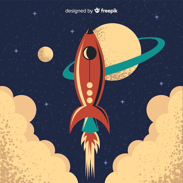 Classic space rocket with vintage style Free Vector
