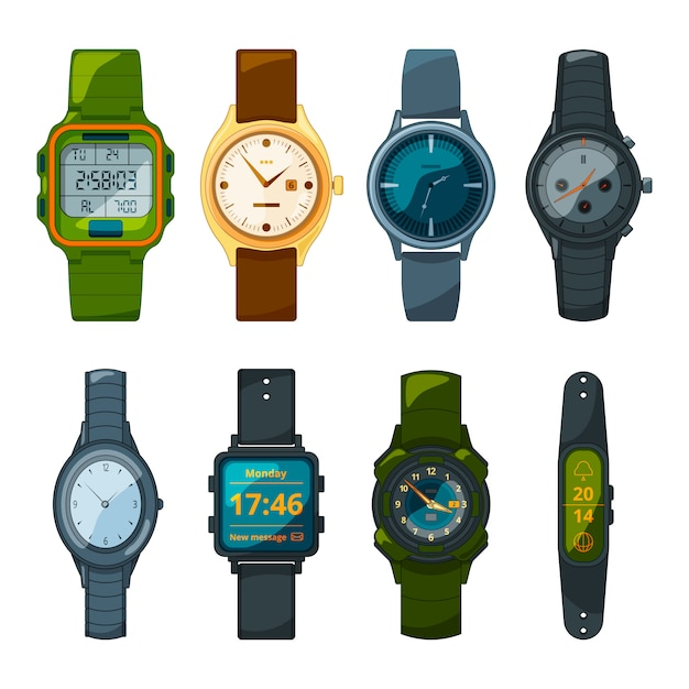 Classic and sport hand watches for men and women. Premium Vector