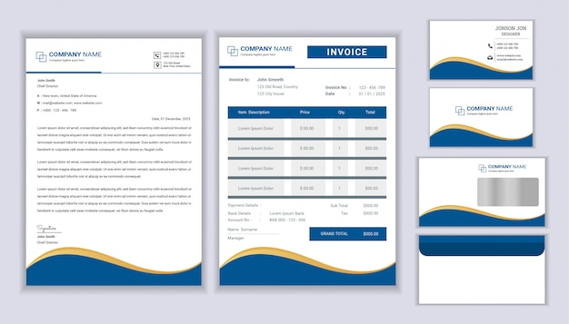 Classic stationery business corporate identity design with letterhead template, invoice and business card. Premium Vector