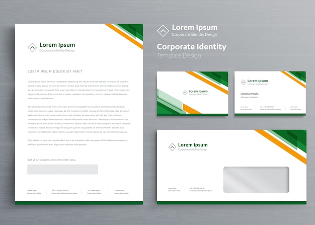 Classic stationery business corporate identity template Premium Vector
