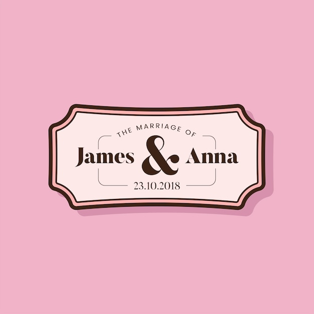 Classic style wedding invitation badge Free Vector