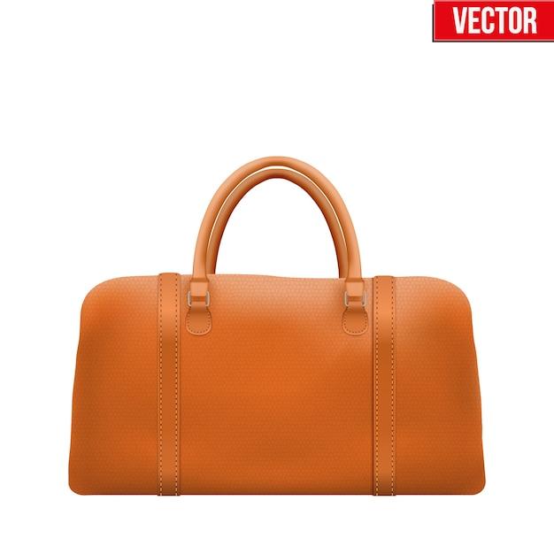 クラシックなスタイリッシュなレザーハンドルバッグ。ファッションアクセサリー。白い背景のイラスト。 Premiumベクター