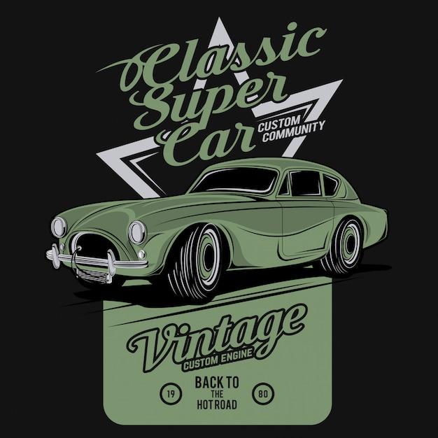Classic super car Premium Vector