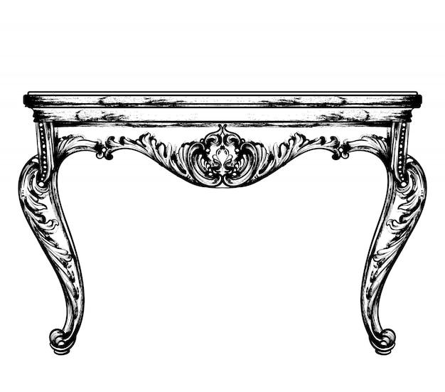 Classic table furniture Premium Vector