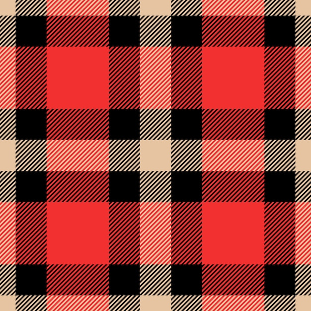 Classic tartan and buffalo check plaid seamless patterns. Premium Vector