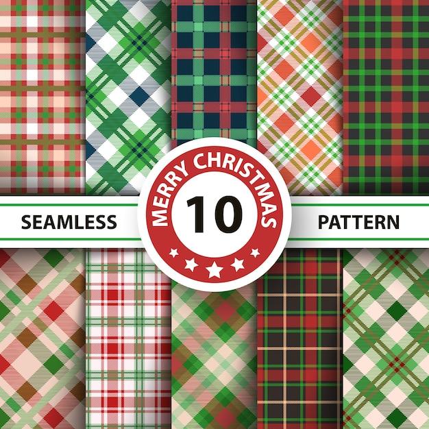 Classic tartan gingham, buffalo, lamberjack, merry christmas check plaid seamless patterns Premium Vector