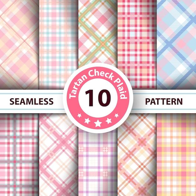 Classic tartan, merry christmas check plaid seamless patterns Premium Vector