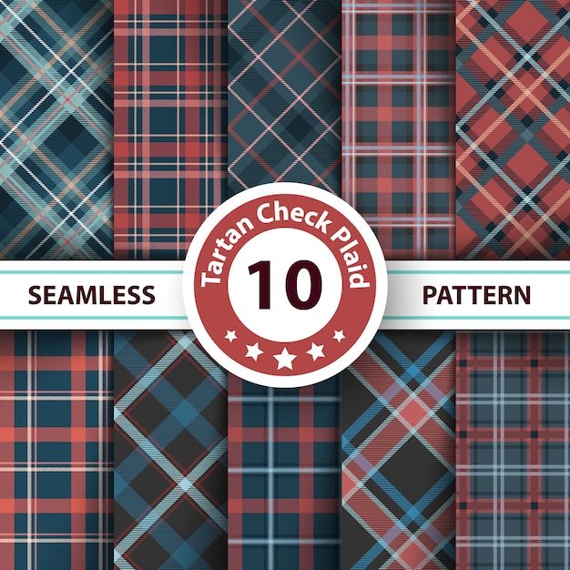 Classic tartan, merry christmas check plaid seamless patterns Premium Vector