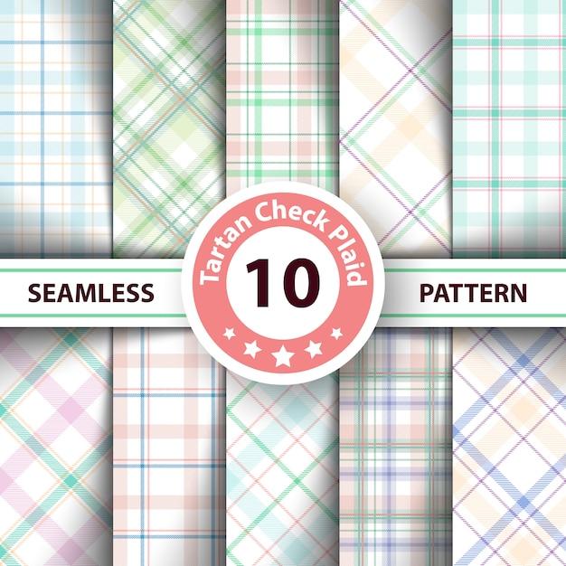 Classic tartan, merry christmas seamless patterns Premium Vector