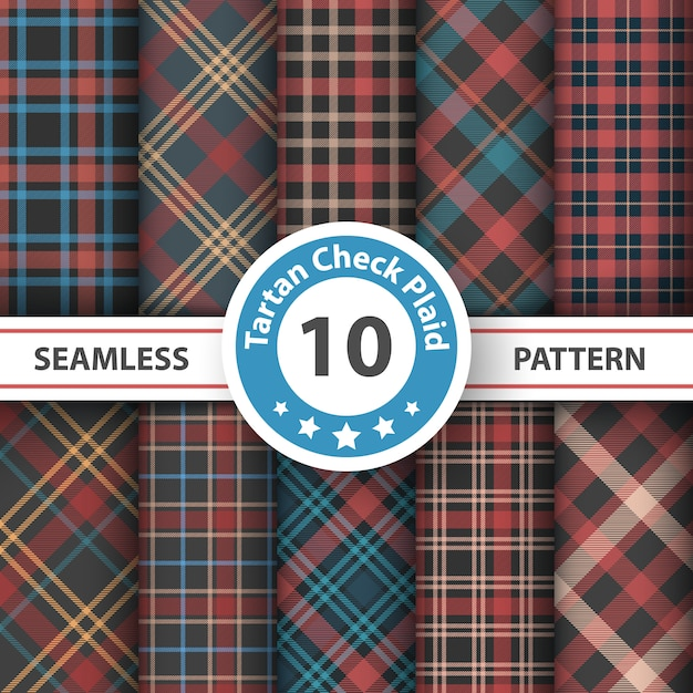 Classic tartan seamless patterns Premium Vector
