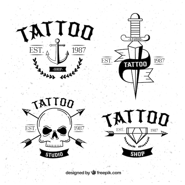 Classic tattoo logo collection Free Vector