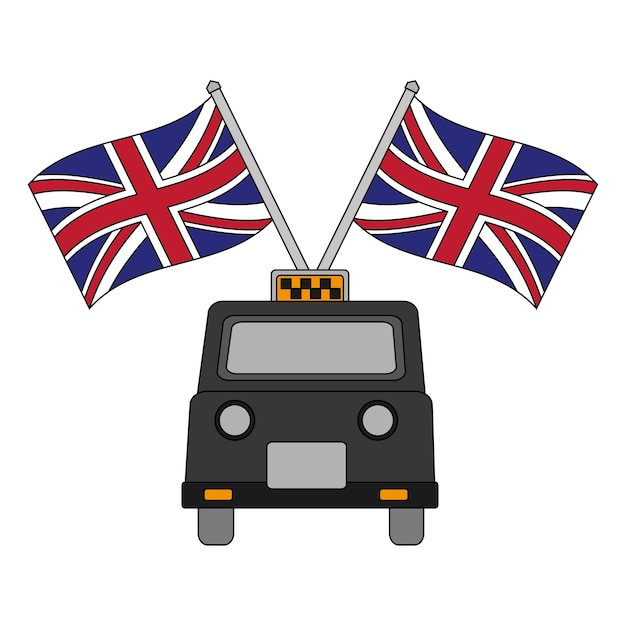 Classic taxi with flags of great britain Premium Vector