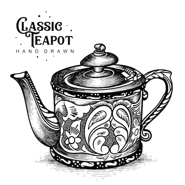 Classic teapot with carving style Premium Vector