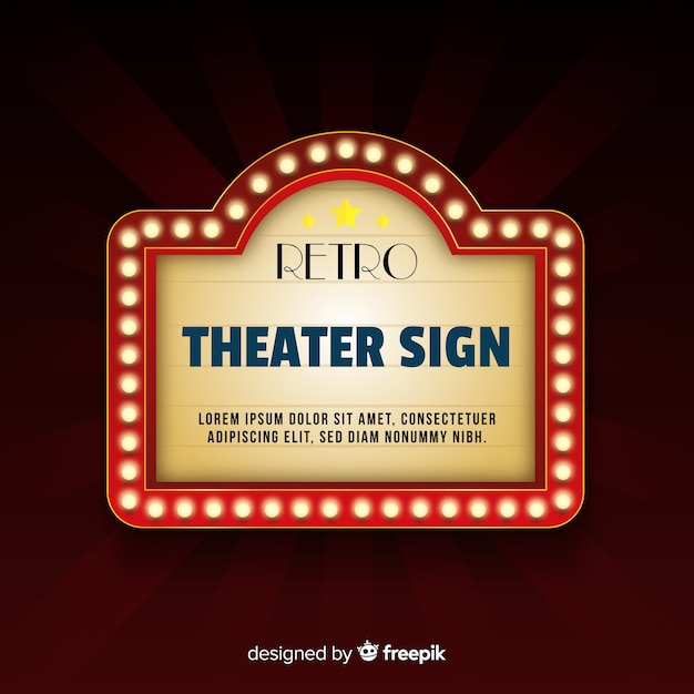 Classic Theater Sign With Neon Lights Vector Free Download