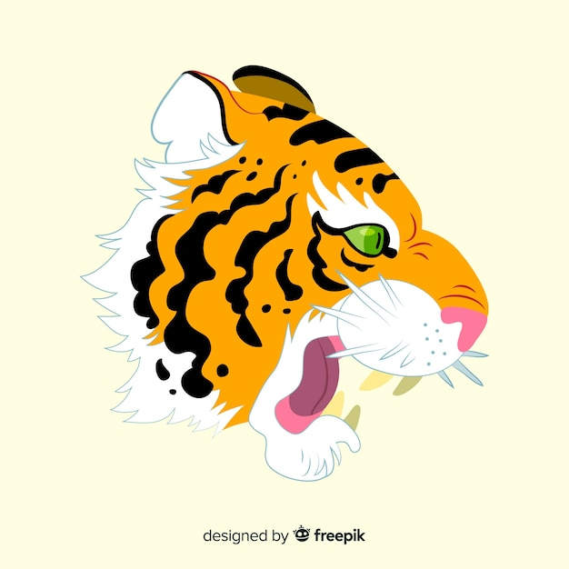 Classic tiger face compositio Free Vector