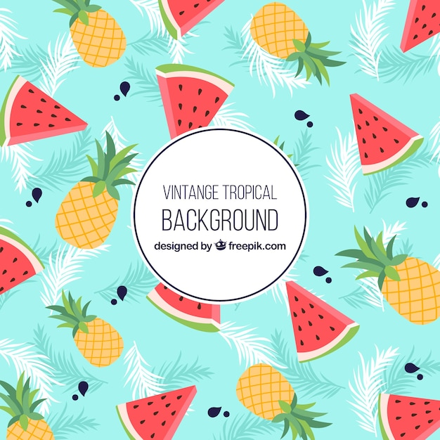 Classic tropical background with vintage style Free Vector
