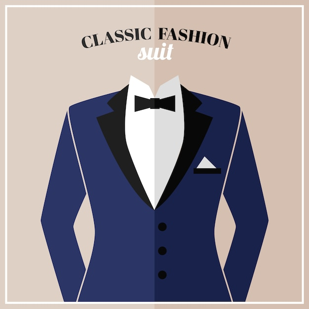 Classic tuxedo suit with bow Free Vector