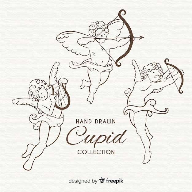 Classic valentine cupid collection Free Vector