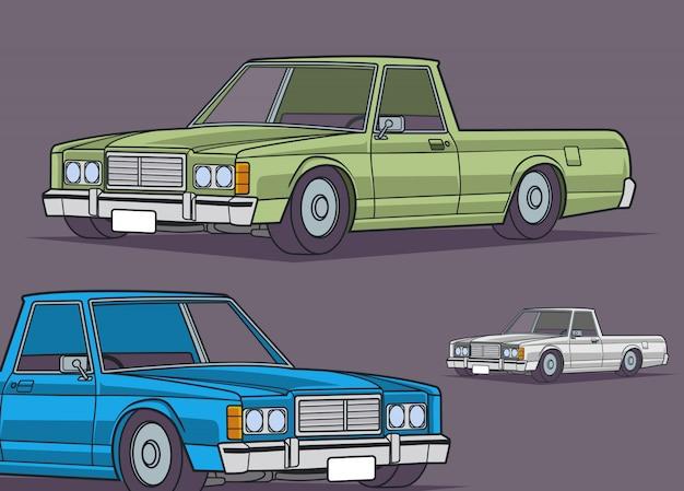 Classic vehicles collection Premium Vector