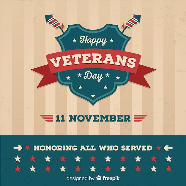Classic veteran's day composition with vintage design Free Vector