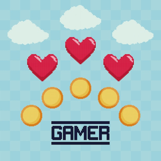 Classic video game coins and hearts Premium Vector