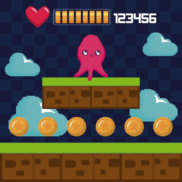 Classic video game scene with octopus mutant character Premium Vector