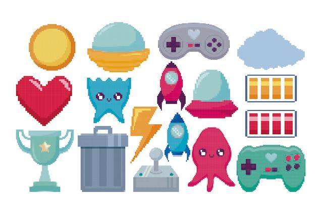 Classic video game set icons Premium Vector