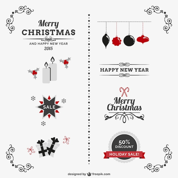 Classic vintage christmas ornaments | Free Vector