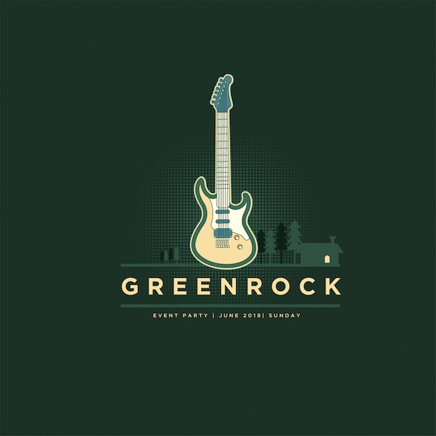 Classic vintage green rock guitar logo Premium Vector