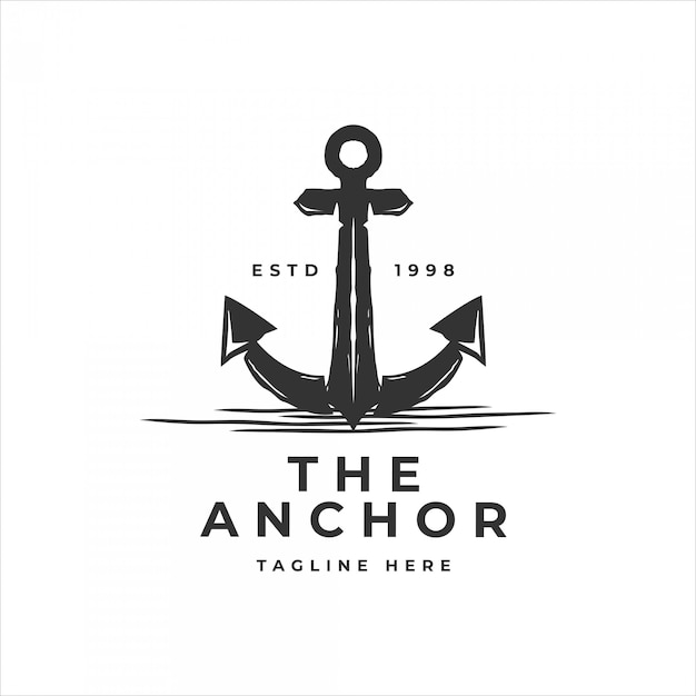 Classic vintage retro anchor for sailor logo template Premium Vector