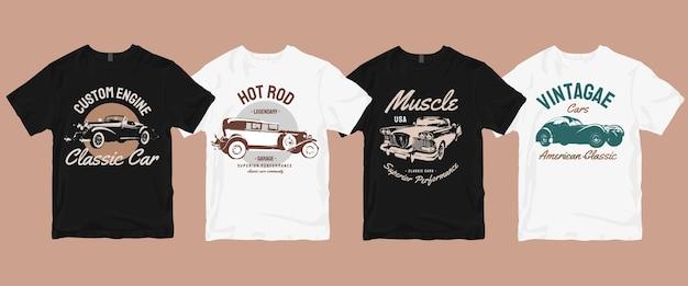Classic vintage retro car t shirt  bundle Premium Vector