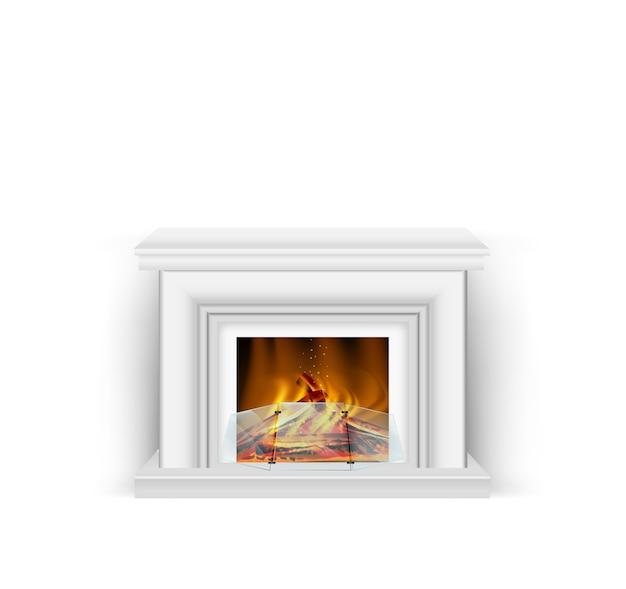 インテリアに燃える火が付いている古典的な白い暖炉 Premiumベクター