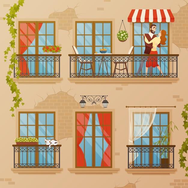 Classic window balconies composition Free Vector