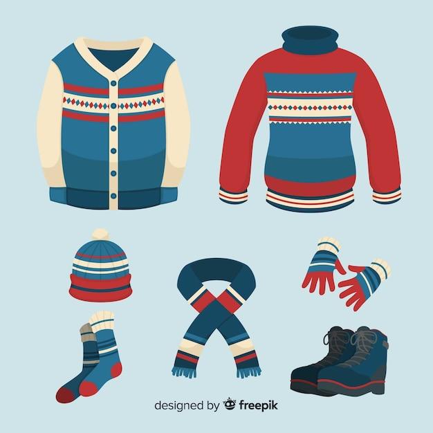 Classic winter clothes collectio Free Vector