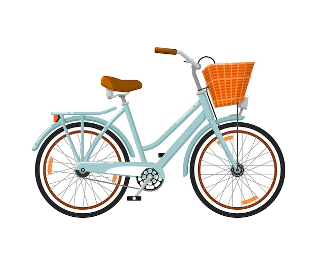 Classic woman bicycle isolated icon Premium Vector