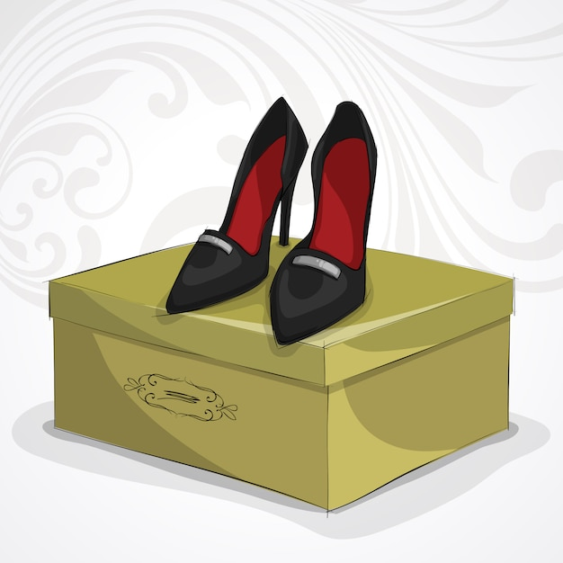 Classic woman's leather black shoes Free Vector