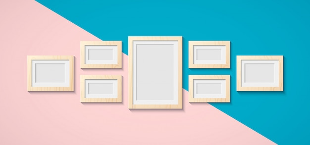 Classic wooden frame for pictures and photos on the wall. vintage framework in brown color and white wood floor. interior design and object symbol of art. copy space for your image. Premium Vector