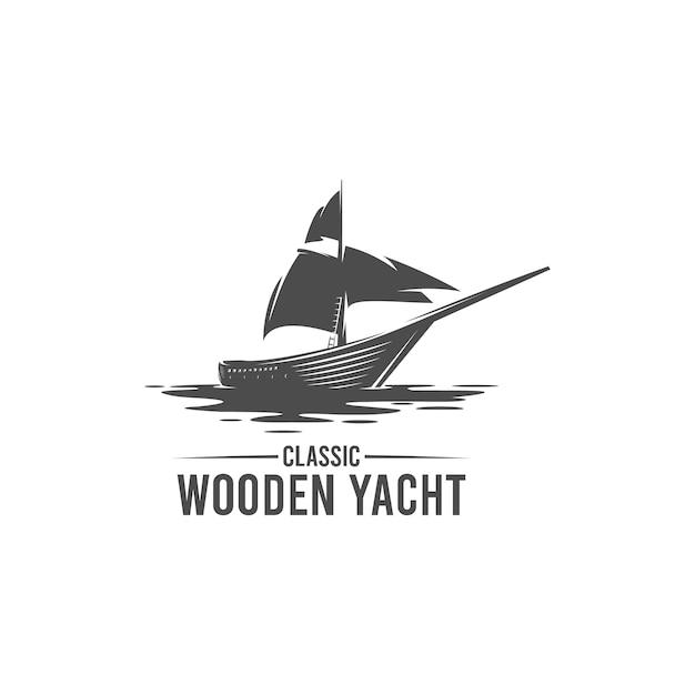 Classic wooden yacht silhouette logo Premium Vector