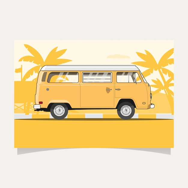 Classic yellow van flat illustration Premium Vector