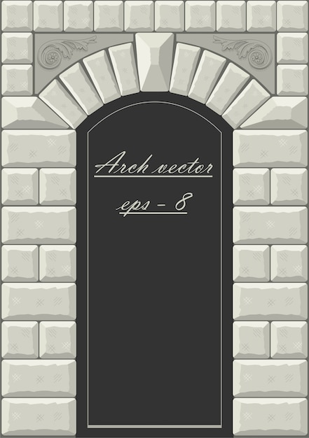 Classical arch of hewn stone Premium Vector