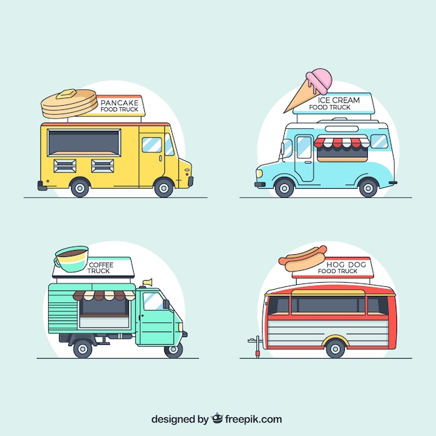 Classical collection of hand drawn food trucks