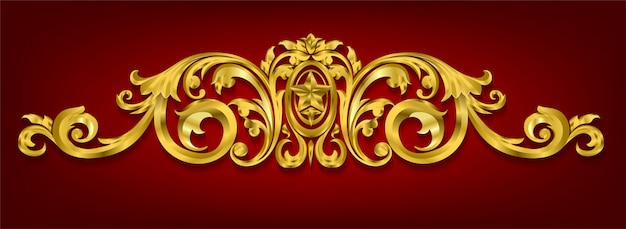 Classical decorative elements in baroque style Premium Vector