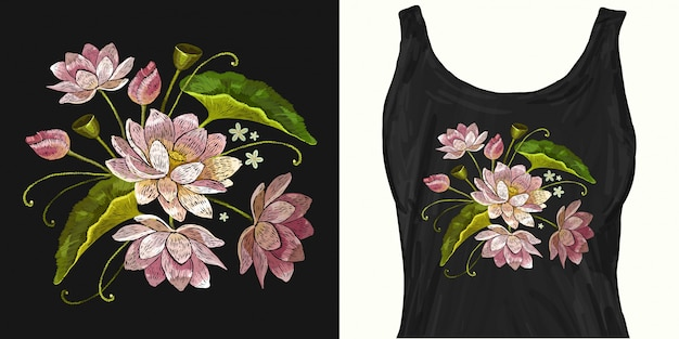 Classical embroidery pink lotuses, water lily Premium Vector