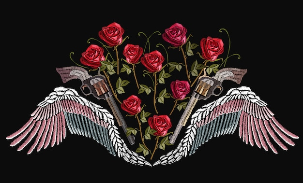Classical embroidery wings and crossed guns Premium Vector