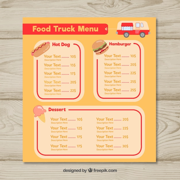 Classical food truck menu