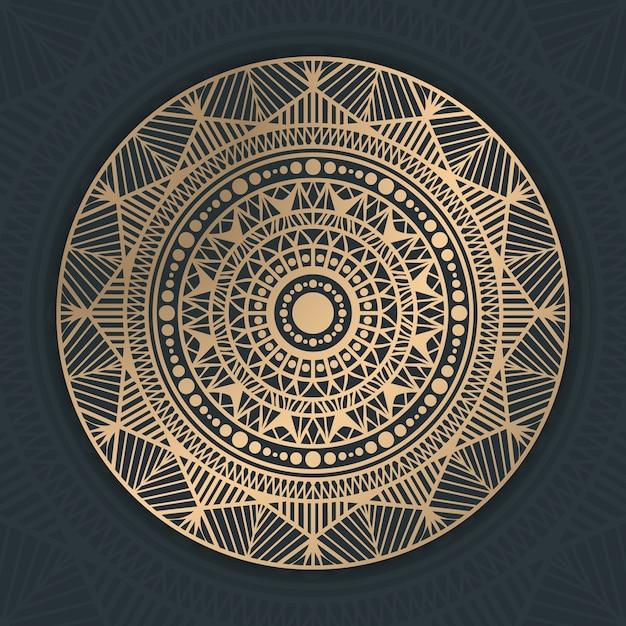 고전 황금 만다라 패턴 프리미엄 벡터