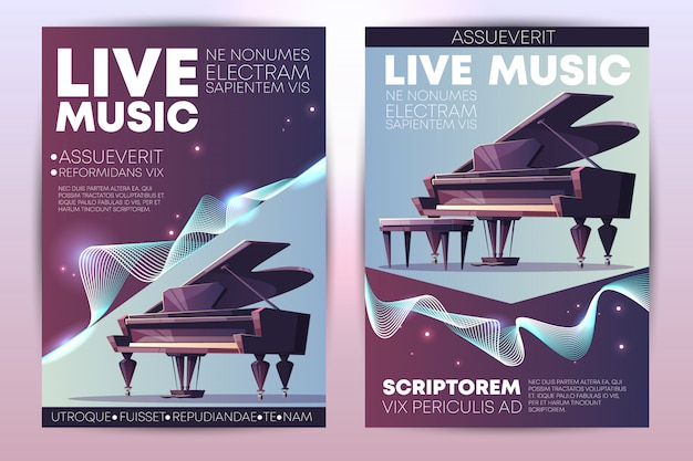 Classical or jazz music festival, symphonic orchestra live concert, piano virtuoso performance Free Vector
