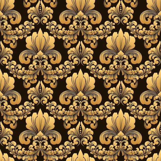 古典的な豪華な昔ながらのダマスク織飾りシームレスパターン 無料ベクター